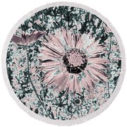 Rose Wine Daisies Round Beach Towel