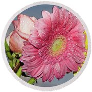 Rose With Gerbers Round Beach Towel