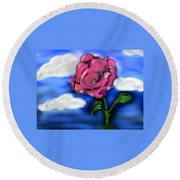 Rose Within The Clouds Round Beach Towel