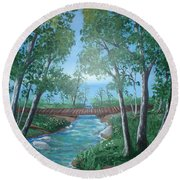Roseanne And Dan Connor's River Bridge Round Beach Towel