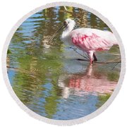 Roseate Spoonbill Young Adult Round Beach Towel