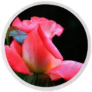 Rosebud And Dewdrops  Round Beach Towel