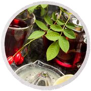 Rosehip Tea With Lemon In Glass Round Beach Towel