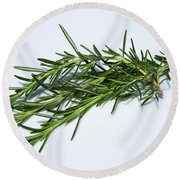 Rosemary Isolated On White Round Beach Towel