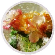 Roses And Crystal Round Beach Towel