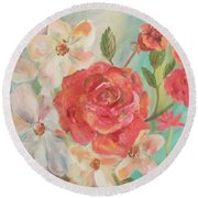 Roses And Flowers Round Beach Towel