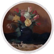 Roses And Pearls Round Beach Towel
