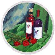 Roses And Wine Round Beach Towel