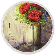Roses And Woman Round Beach Towel