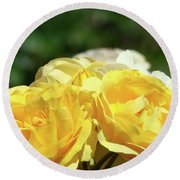 Roses Art Prints Canvas Sunlit Yellow Rose Flowers Baslee Troutman Round Beach Towel