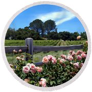 Roses At Rusack Vineyards Round Beach Towel