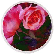 Roses Beautiful Pink Vegged Out Round Beach Towel