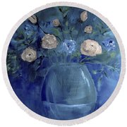 Roses For Him Painting Round Beach Towel