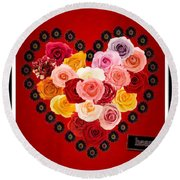 Roses For My Dear Love Round Beach Towel