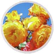 Roses Garden Summer Art Print Blue Sky Yellow Orange Round Beach Towel