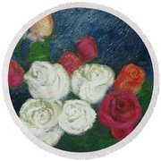 Roses I Round Beach Towel