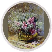 Roses In A Copper Vase Round Beach Towel by Claude Monet