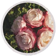 Roses In A Vase,on The Grass Round Beach Towel