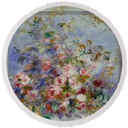 Roses In A Window Round Beach Towel