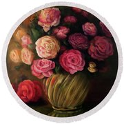Roses In Brass Bowl Round Beach Towel