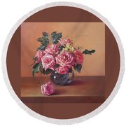 Roses In Glass Round Beach Towel