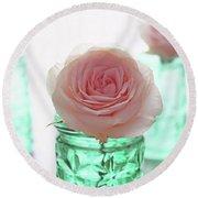 Roses In Green Jars Round Beach Towel