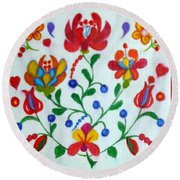 Roses In The Folk Style Round Beach Towel