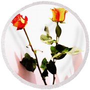Roses In The Light Round Beach Towel