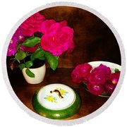 Roses In Vase And Bowl Round Beach Towel