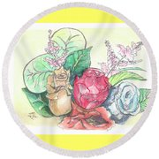 Roses On A Birthday Round Beach Towel