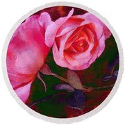 Roses Silked Pink Vegged Out Round Beach Towel