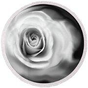 Rose's Whisper Black And White Round Beach Towel