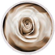 Rose's Whisper Sepia Round Beach Towel
