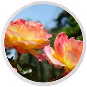 Roses Yellow Roses Pink Summer Roses 4 Blue Sky Landscape Baslee Troutman Round Beach Towel