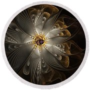 Rosette In Gold And Silver Round Beach Towel