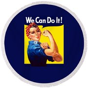 Rosie The Rivetor Round Beach Towel by War Is Hell Store