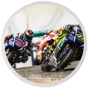 Rossi Leading The Pack Round Beach Towel