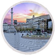 Rossio Square In Lisbon Portugal At Sunset Round Beach Towel