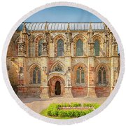 Rosslyn Chapel Panorama Round Beach Towel