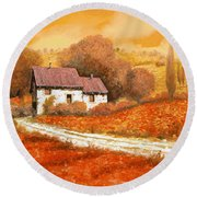 Rosso Papavero Round Beach Towel by Guido Borelli