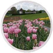 Rosy Field Round Beach Towel