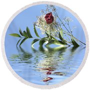 Rosy Reflection  Round Beach Towel