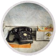 Rotary Dial Phone In Black S And H Stamps Round Beach Towel