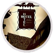Rothenburg Hotel Sign - Digital Round Beach Towel