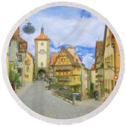 Rothenburg Watercolor Study Round Beach Towel