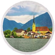 Rottach Egern On Tegernsee Architecture And Nature View Round Beach Towel