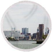 Rotterdam Skyline With Euromast  Round Beach Towel