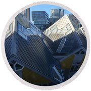 Rotterdam - The Cube Houses And Skyline Round Beach Towel