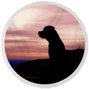 Rottweiler Sunrise Round Beach Towel
