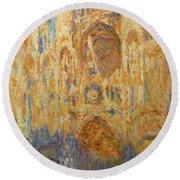 Rouen Cathedral, Facade, Sunset Round Beach Towel